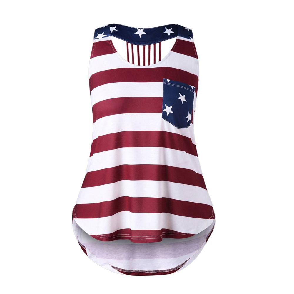 60fc53d476f68e 2019 Women Blouse Fashion Shirts Women S Tees Casual Distressed American  Flag Sleeveless Shirt Tank Tops Blouse 5XL Plus Size From Jilihua