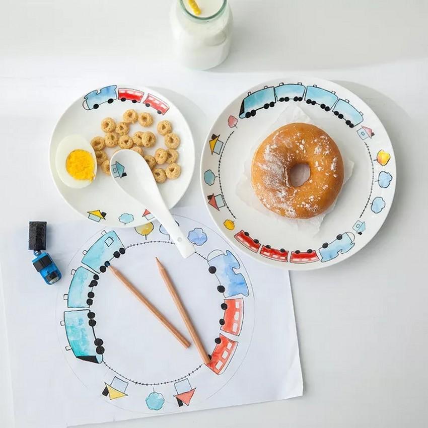 Piatti In Ceramica Per Bambini.4 Pz Creativo Cartoon Bone China Auto Piatti Per Bambini Posate Set Bambino Ciotola Di Riso Colazione Bone China Piastra Di Ceramica Da Tavola