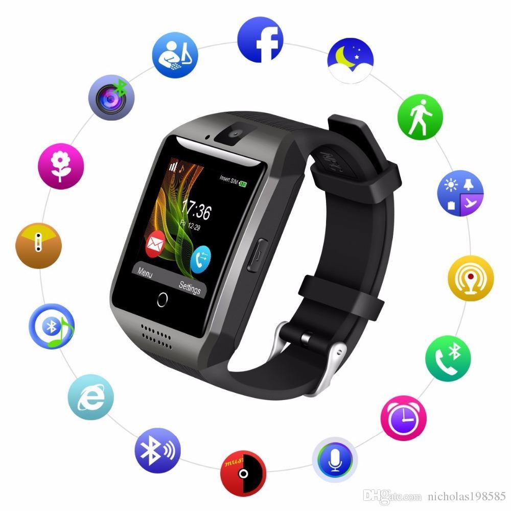 4749c57d9 Relojes Baratos Online Q18 Relojes Inteligentes Para Teléfonos Android  Bluetooth Smartwatch Con Pantalla Táctil De La Cámara Relojes Inteligentes  De Salud ...