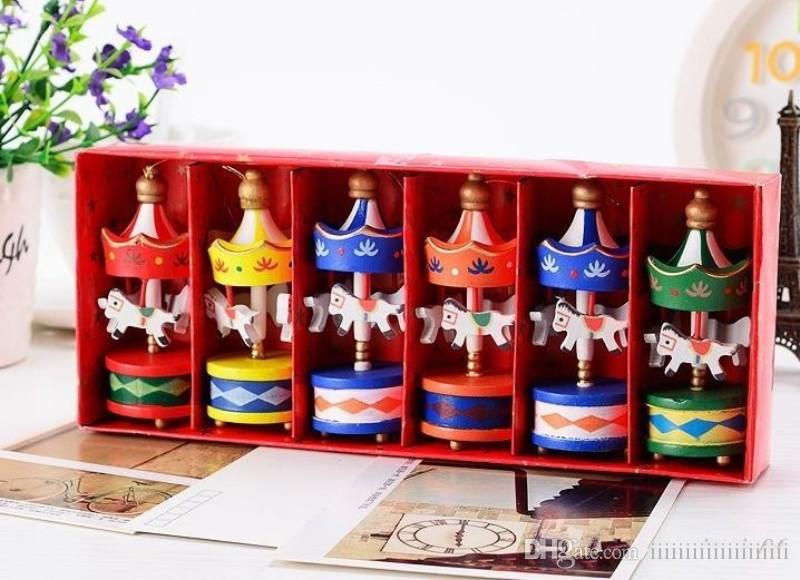 vintage wood carousel horse christmas tree pendant hanging ornaments romatic wedding birthday hen party decor kids toy favors with gift box christmas yard - Christmas Horse Yard Decorations