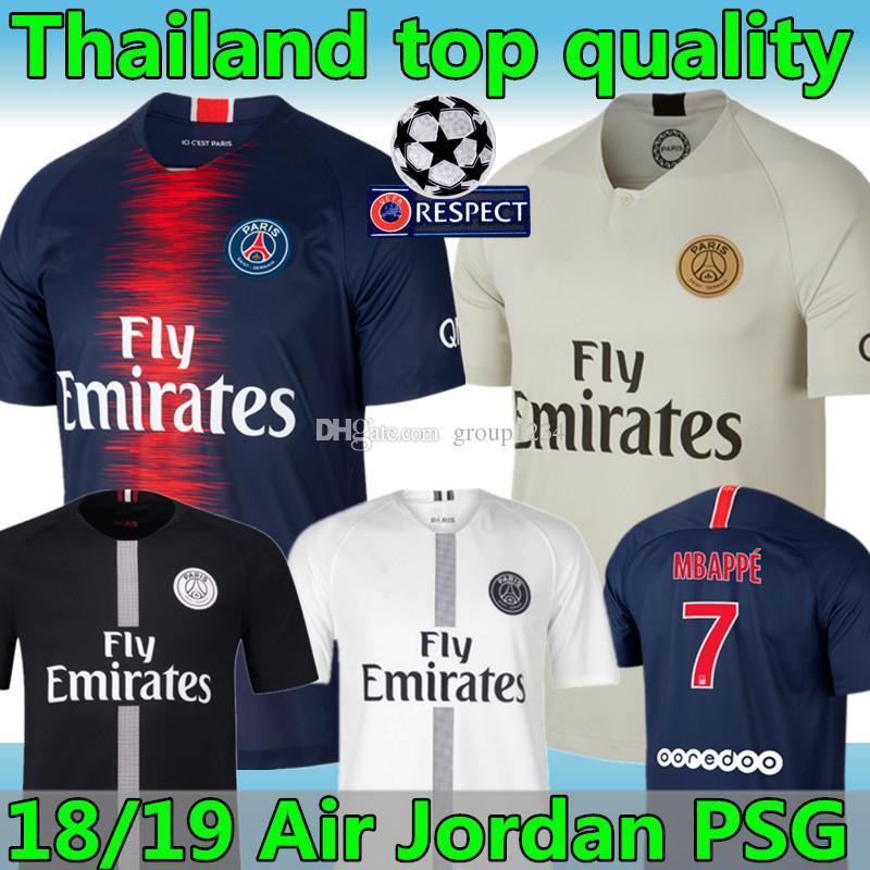 5cd1749c9 2019 2018 19 Season  7 Mbappé Thailand Top Quality PSG Champions League  Black Soccer Jersey 2019  10 NEYMAR JR CAVANI Away White Footbal Uniform  From ...