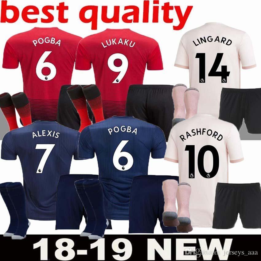 d3c79b780 2019 AAA+ Adult Kit 18 19 ALEXIS LUKAKU Soccer Jersey Full Kit THIRD Man  2018 2019 Home POGBA RASHFORD Utd Football Shirt BLUE MAILLOT DE FOOT From  ...