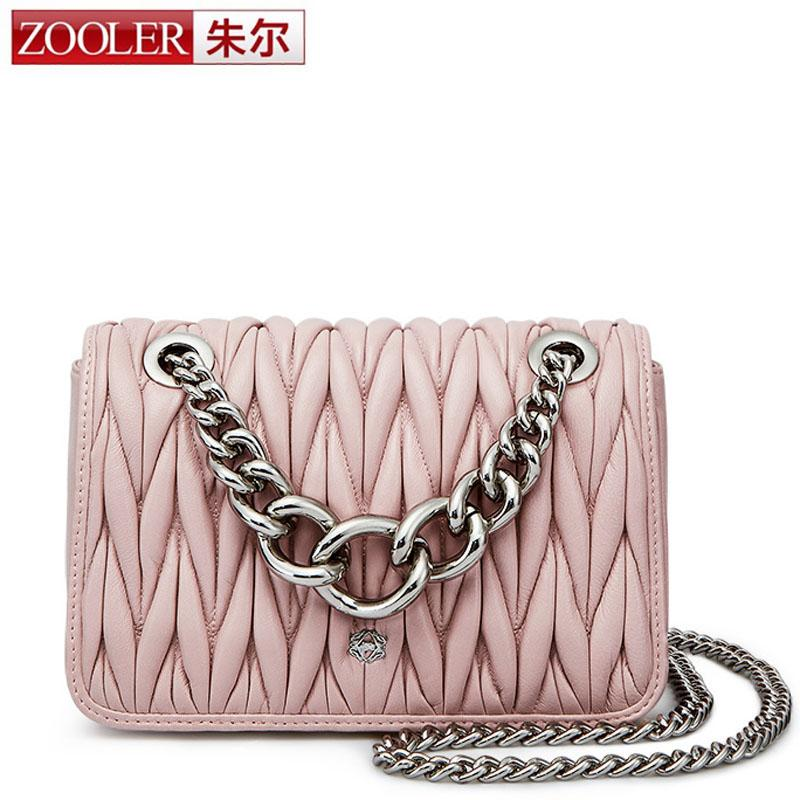 2763d9fd77b7 ZOOLER Sheepskin Quilted Leather Bag with Big Chain Women Handbag High  Quality Luxury Genuine Leather Crossbody Bag Black Pink