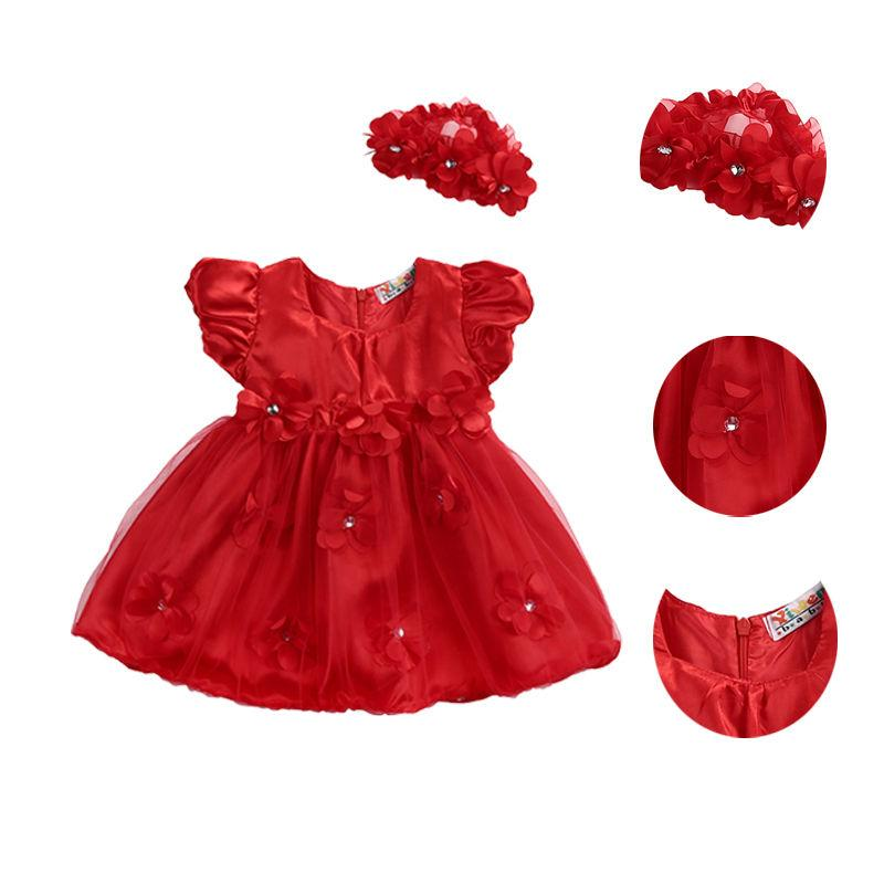 3e0449641 Newborn Baby Toddler Girl Dress Flower Princess Wedding Party ...
