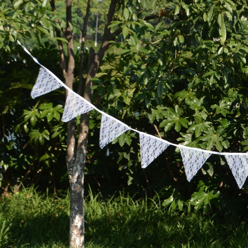 Romantik Vintage Perişan Fildişi Dantel Banner Bayrak Garlands Düğün Süslemeleri 12 Bayrakları -3.2 MWedding Bunting Dekor