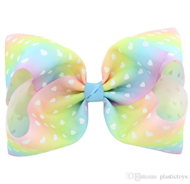 8 Inch Rhinestone Hair Bow Jojo Bows With Clip For School Baby Children Large Sequin Bow Unicorn Bow Mermaid 6 Style