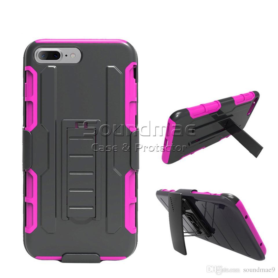 Armor Hybrid Case 3 en 1 Combo Holster Clip de ceinture Protecteur Defender Kickstand Couverture de téléphone pour iPhone X 8 7 Plus Samsung Note 8 S8 OPP Sac