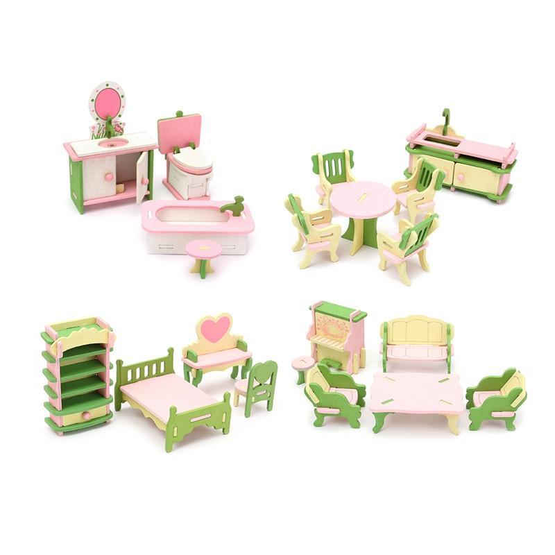 Toys & Hobbies Pretend Play Intelligent Wooden Dollhouse 3d Table Chair Dresser Model Set Kids Pretend Play Toys Children Diy Dolls Mini Furniture Kids Educational Toys Last Style