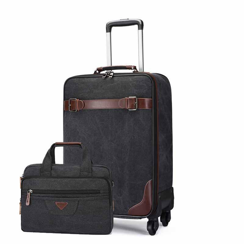50921ad37f0a 16 Inch Canvas Rolling Luggage Set Spinner Multifunction Handbag Suitcase  Wheels 20 Inch Cabin Trolley Laptop Travel Bag Weekend Bags Travel  Backpacks From ...