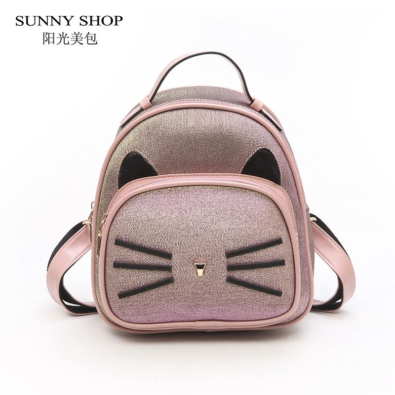 a664631ceb SUNNY SHOP 2018 Fashion Cute Cartoon Cat Women Backpack Small Pink PU  Leather Ladies Bagpack Korean Girls School Bags Teenage School Backpacks  Cool ...