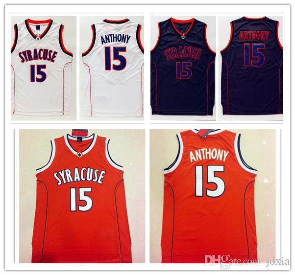 3000194bb87 ... free shipping 2018 ncaa high quality syracuse college jerseys 15  carmelo anthony shirt orange black white