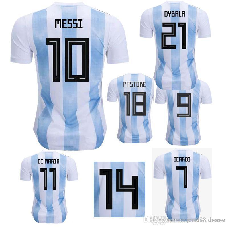 e1d15aed25b 2019 Wholesale New Argentina World Cup Soccer Jersey 17 18 MESSI Home DI  MARIA AGUERO Thai Quality Argentina Football Shirts 2017 From  Sports888jerseys