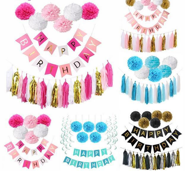 2019 Birthday Decoration Party Favors DIY Girl Pink Happy Banner Tissue Paper Pom Poms Gold Baby Boy Blue Bunting From Gparrot Love999