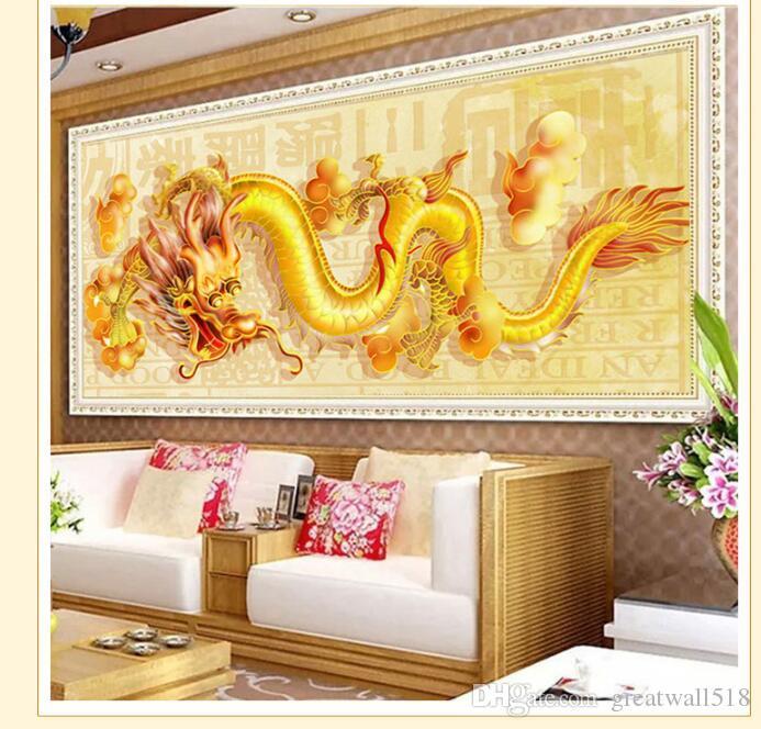 DIY Bordado de Diamantes 40 * 100 CM Redondo Oriental Golden Dragon Completo rhinestone 5D pintura Diamante punto de cruz costura LF-042