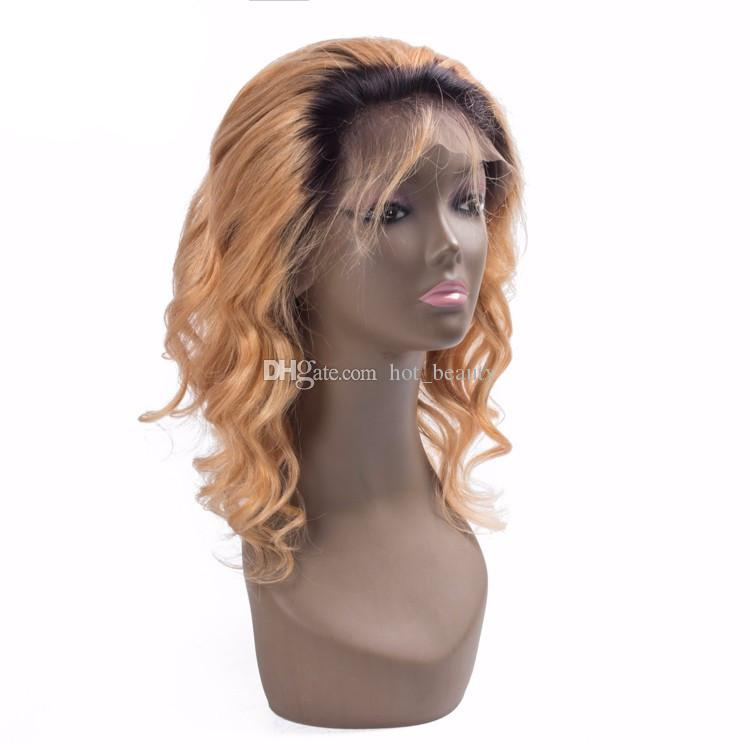 Honey Blonde Body Wave Ombre Human Hair Full Lace Wig Brazilian Virgin Unprocess Hair For Black Women Top Quality Ombre Front Lace Wig