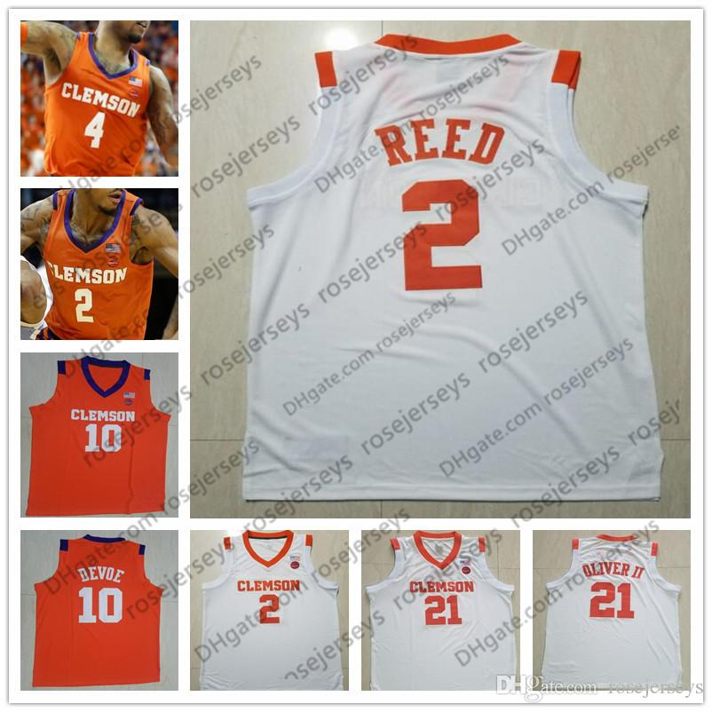superior quality 04454 ee41b NCAA Clemson Tigers #2 Marcquise Reed 4 Shelton Mitchell 14 Elijah Thomas  25 Aamir Simms white orange Stitched College Basketball Jerseys S