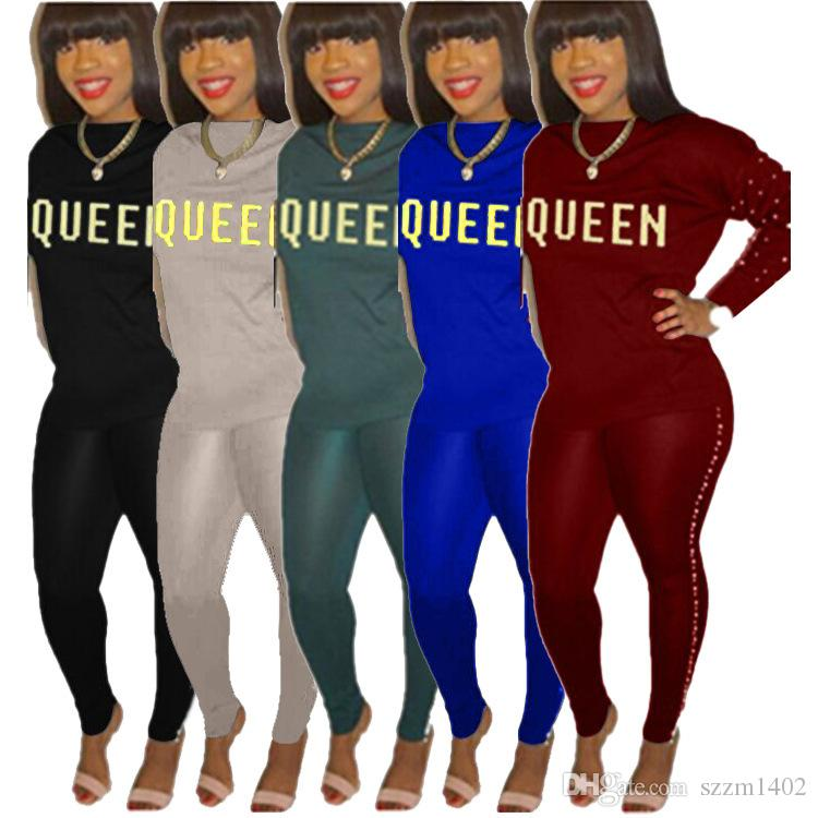6b1663a9922e 2018 Two Piece Sports Set Womens Tops And Pants Sexy Long Sleeve Tracksuit  Queen Letter Print Bodycon Jogging Outfits Plus Size 2018 Two Piece Sports  Set ...