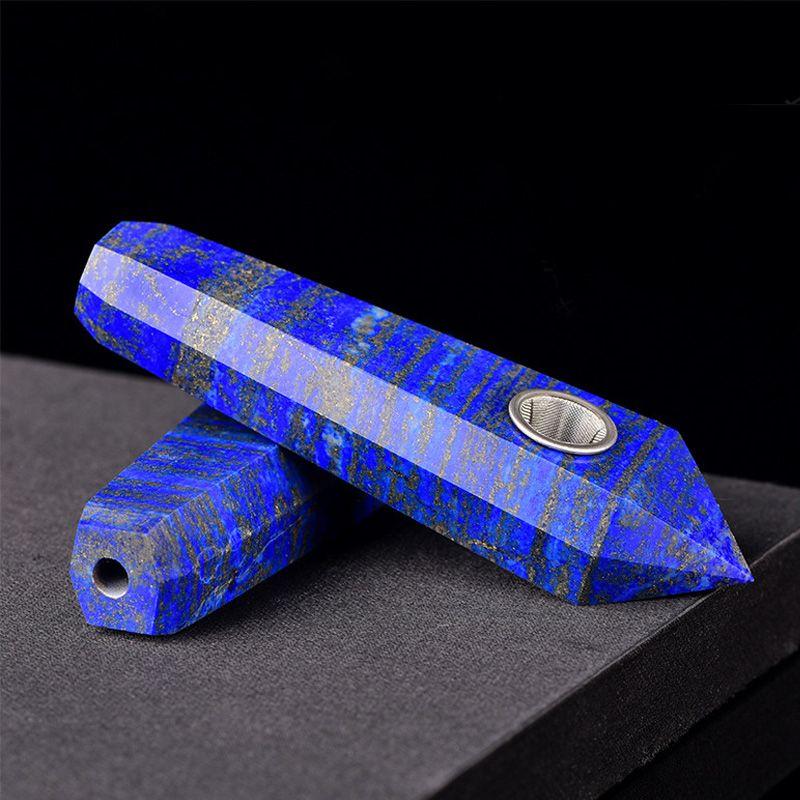 Tıknaz Kraliyet Doğal Lapis Lazuli Gem Taş Kuvars Kristal Değnek + Metal Süzgeç Sigara Boru Oyma Mavi Nokta Dikilitaş Taş Tütün Boru