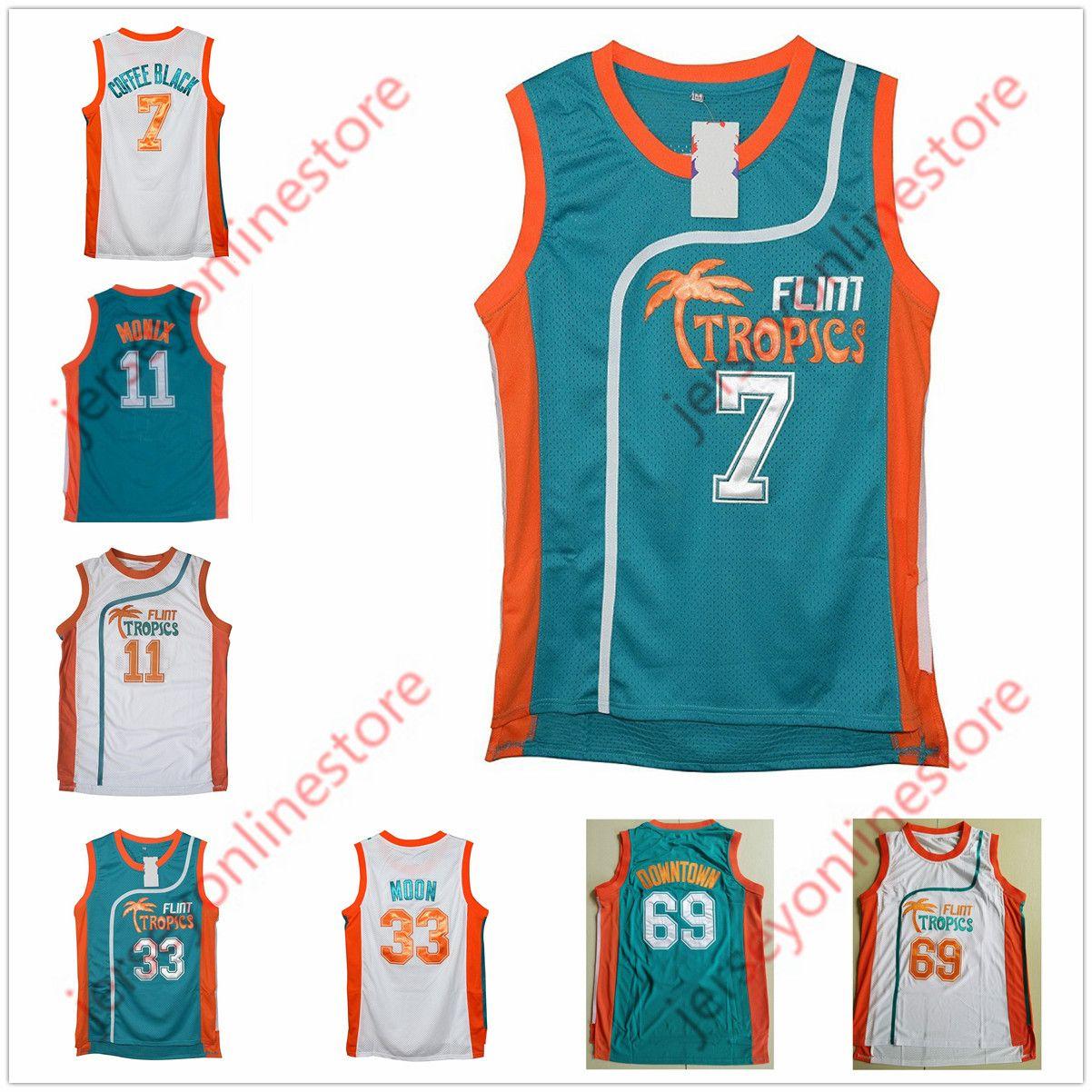 2019 Men Semi Pro Movie Flint Tropics 7  Coffee Black Jersey Stitched  Wholesale 33  Jackie Moon 69  Downtown 11  ED Monix Basketball Jerseys From  ... b6b120c83