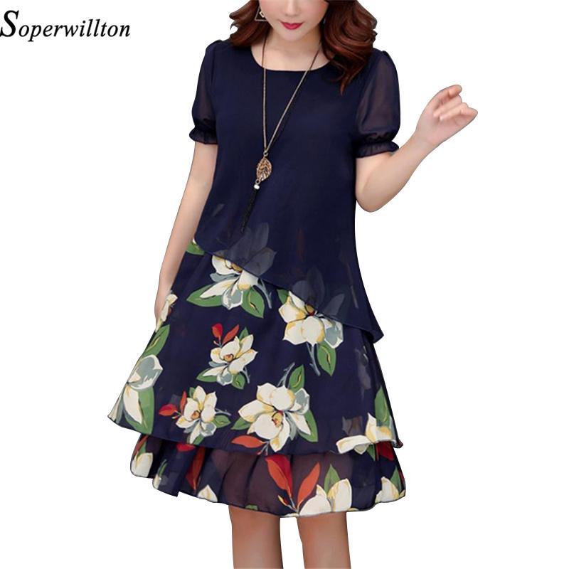 d1f38727d2e 2019 Summer Chiffon Floral Dresses Women 2018 Plus Size Print Midi ...