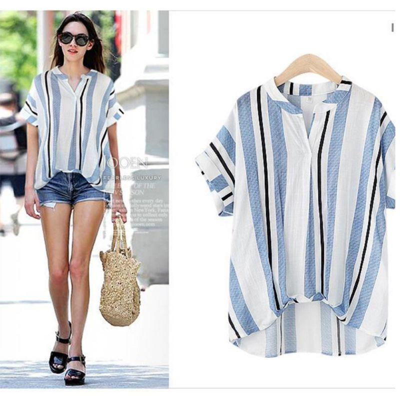 2019 ROPALIA New Striped Blouses Shirts Women Loose Fit Short ... 76382e911c1