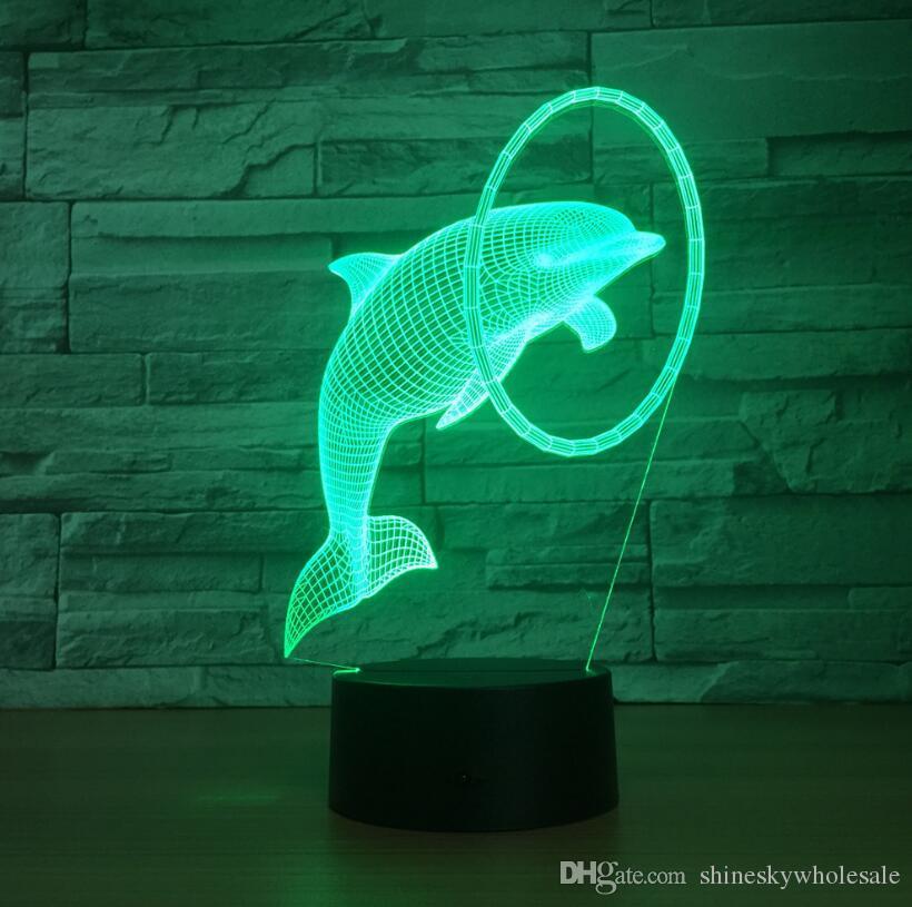 Oda dekoratif 3d sevimli yunus şekilli gece lambası LED 7 renkler akrilik masa lambası yenilik başucu ay gece lambası