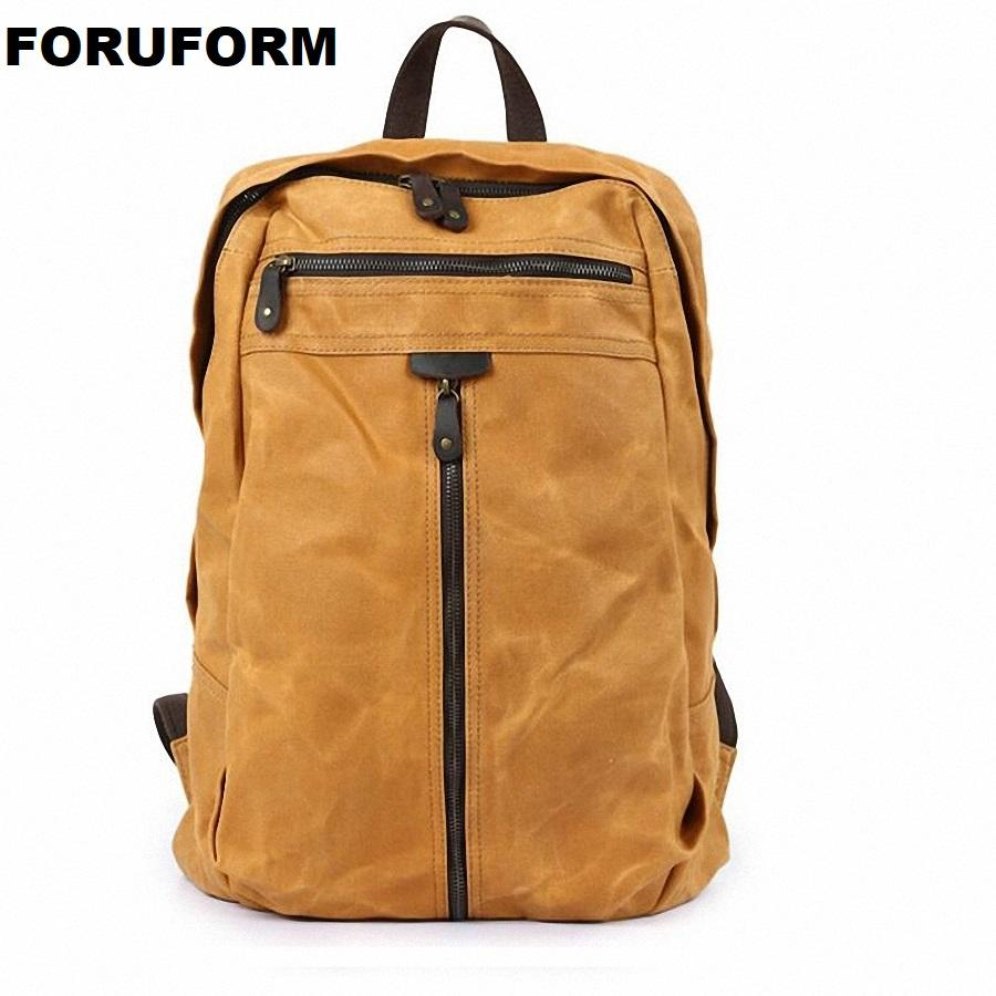Luxury Vintage Canvas Backpacks For Men Oil Wax Canvas Leather Travel  Backpack Large Waterproof Daypacks Retro Bagpack LI 2294 Mochilas Jansport  School ... 99d2fe9152