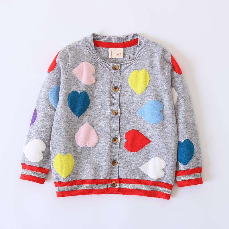 Heart Shaped O Neck Cotton Baby Girls Cardigan Kids Sweater 2018 ...