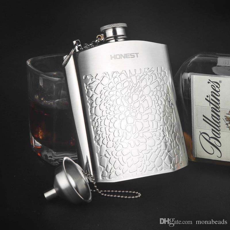 Sıcak Satış Taşınabilir Paslanmaz Çelik Seyahat Cep Şişesi Viski Alkol Likör Şişesi Flagon Mini Flagon Ile Deri Çanta