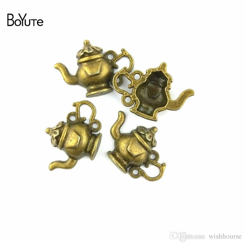 BoYuTe  15*22MM Vintage Style Zinc Alloy Antique Bronze Plated Teapot Pendant Charms for Jewelry Making Diy Findings