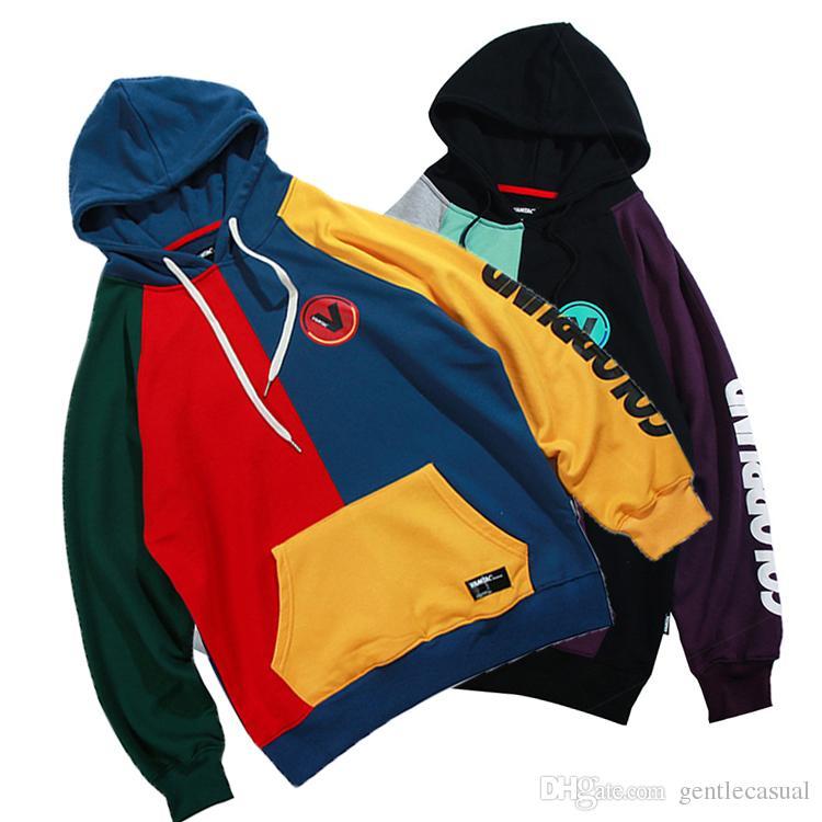 Compre Diseñador De Contraste Color Patchwork Hoodies Para Hombre Sudaderas  Con Capucha De Moda Hip Hop Hoodie Para Niños Y Niñas A  61.41 Del  Gentlecasual ... d250ed94de6