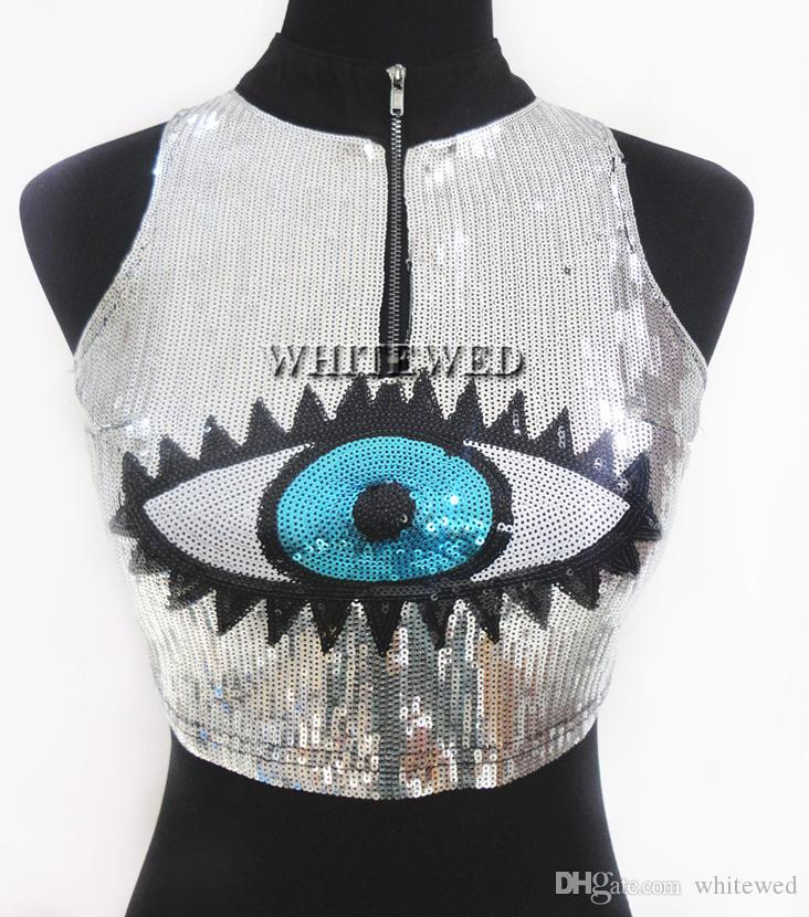 Cute Sequin High Neck Zipper Adult Eye Print Fashion Trend Danced Crop Tank Top Jacket T Shirt Vest Clothing Apparel for women