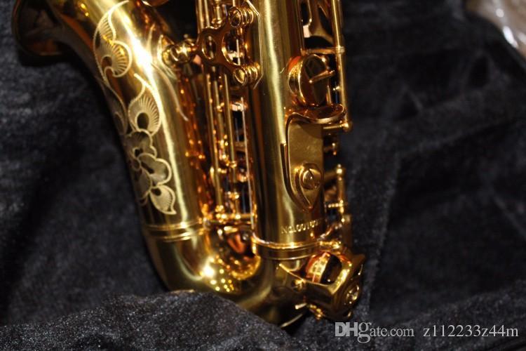 Haute Qualité Laiton Exquis Sculpté À La Main Plaqué Or Soprano B B Saxophone B Plat Sax Avec Cas, Embouchure Livraison Gratuite