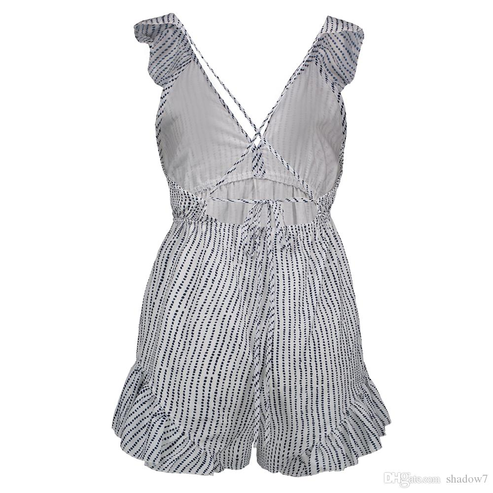 Women Blue Striped Jumpsuits Deep V Neck Sleeveless Backless Sexy 2018 New Summer Ruffles Lace Up Cotton Sweet Girls Rompers Jumpsuits Women