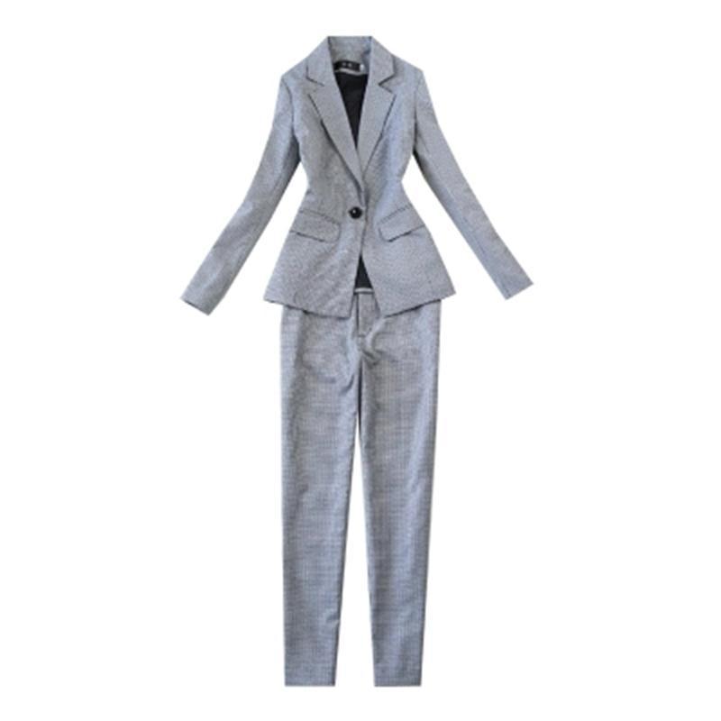 2018 New Plaid Women Suit Sets Blazer 9 Points Pants Work Pants