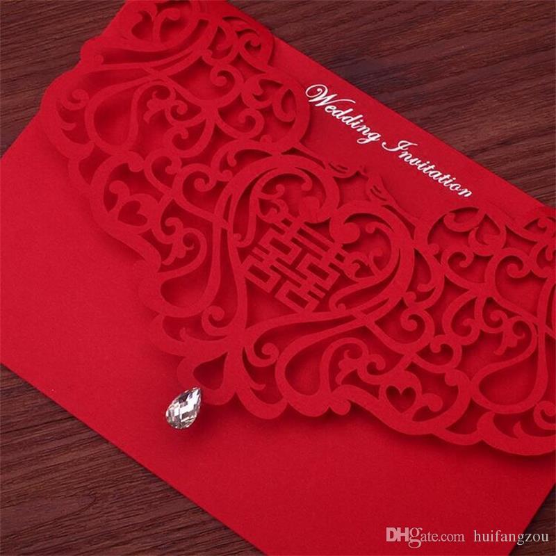 Vintage stile cinese scava fuori inviti di nozze spose creative coppie di carte Red Cover Foil stampaggio Chic carta da sposa