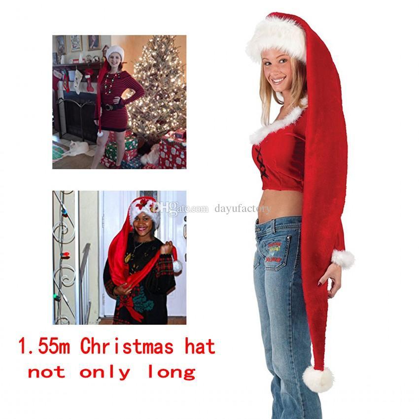 Christmas Hat Long Santa Claus Hat Plush Adult Kids Xmas Costume Decor  Women Men Boys Girls Cap Navidad Christmas Decoration Plain Party Hats  Plain Party ... 1198b087a41