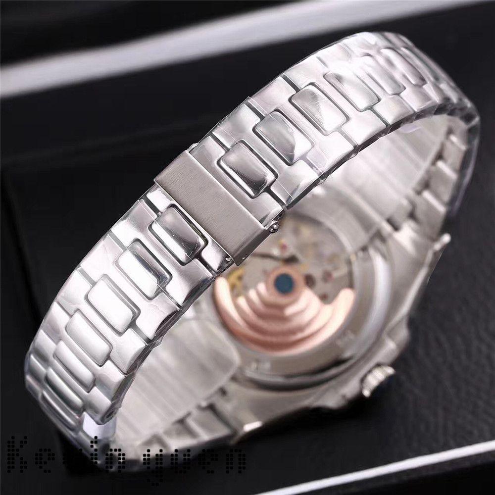 Üst Nautilus İzle Erkekler Otomatik Lüks Saatler 5711 Gümüş Kayış Mavi Paslanmaz Erkek Mekanik Orologio di Lusso Kol Tarih Chrono