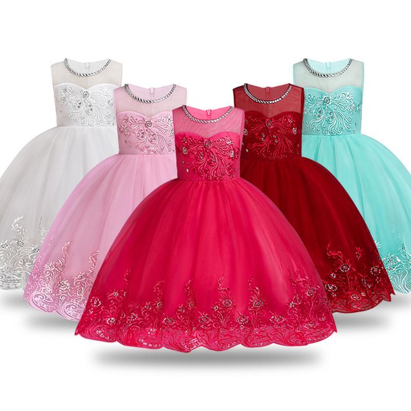 ccea58544960a6 Großhandel Sommer Blumenmädchen Kleid Ballkleider Kinder Kleider Für Mädchen  Party Prinzessin Mädchen Kleidung Für 3 4 5 6 7 8 10 12 Jahre Geburtstag  Kleid ...