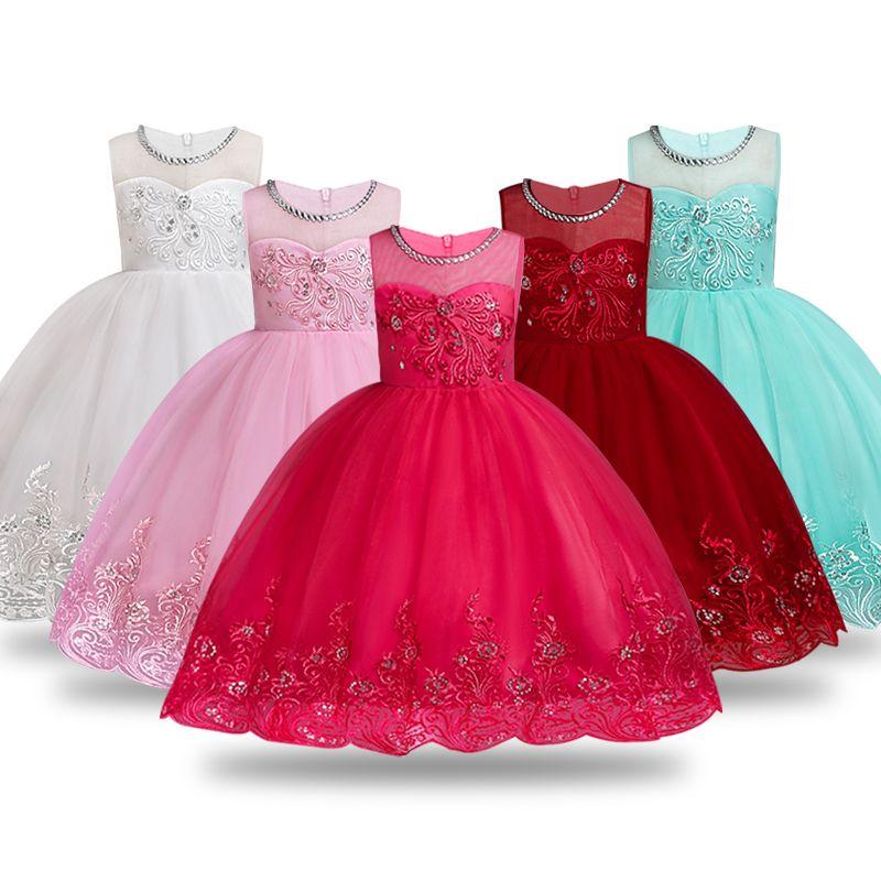0039de47c Vestido de niña de flores de verano Vestidos de bola Vestidos de niños para  niñas Fiesta Princesa Ropa de niña para 3 4 5 6 7 8 10 12 años ...