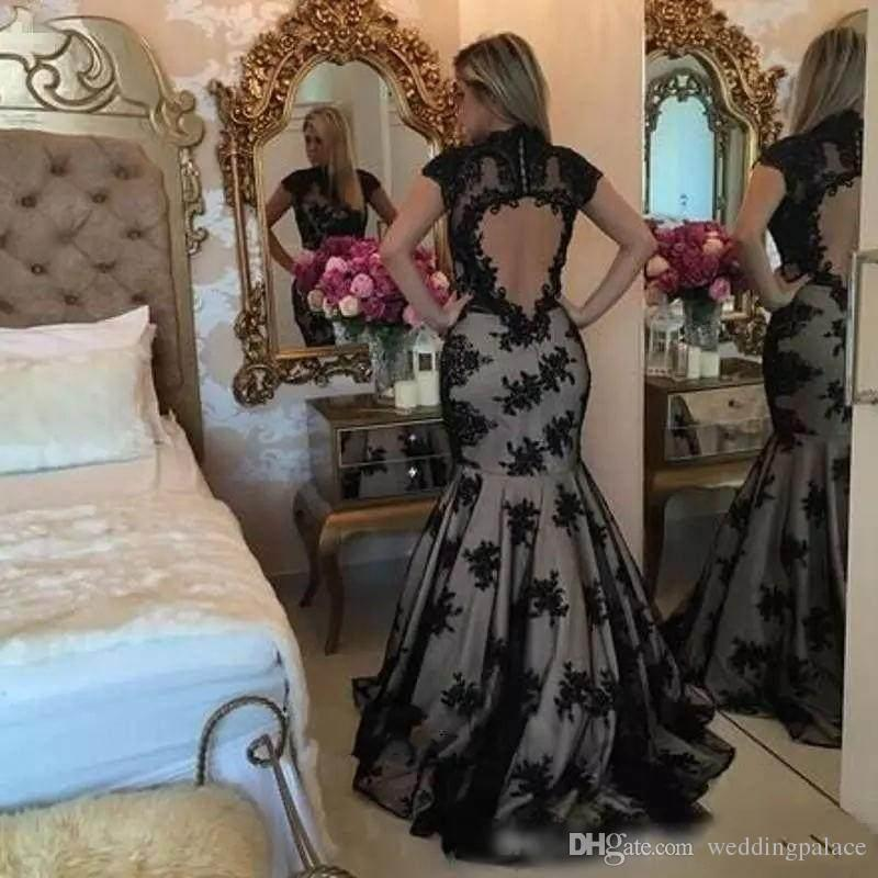 2018 Honorable High Neck Evening Dresses Short Sleeve Mermaid Appliques Pattern Backless Zipper Sweep Train Sexy Party Prom Dresses