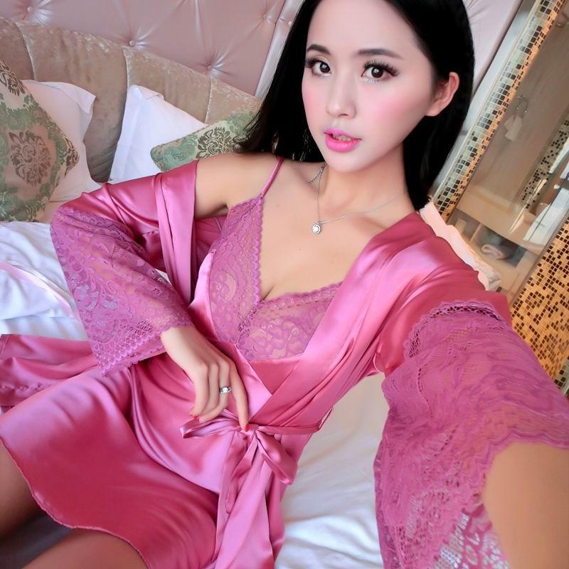 c7bde6455 2018 autumn sexy silk women's robe & gown sets bathrobe + night dress two  pieces sleepwear bra pajamas