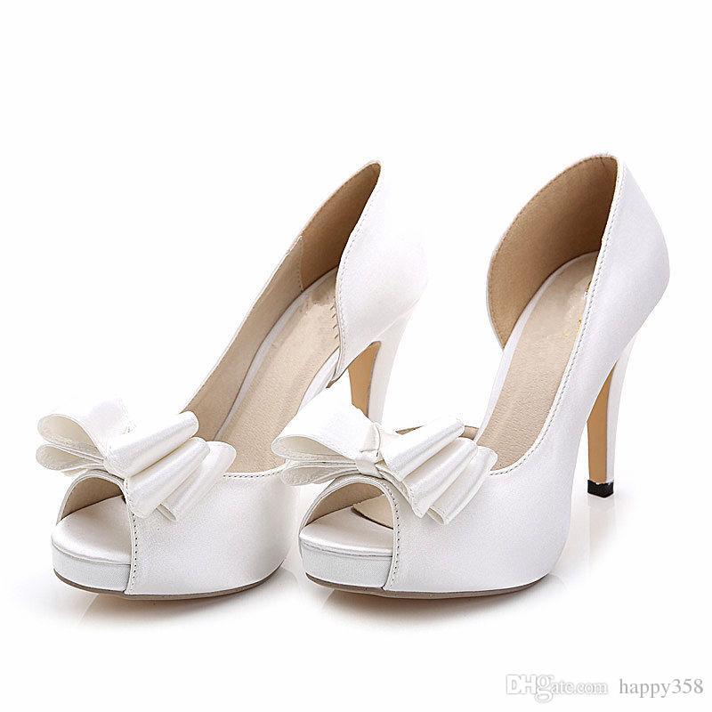 Satin der neuen Art und Weise silk Satin Elfenbein beugt Hochzeits-Schuhe offene Zehe Fersenfrauen Brautschuhe