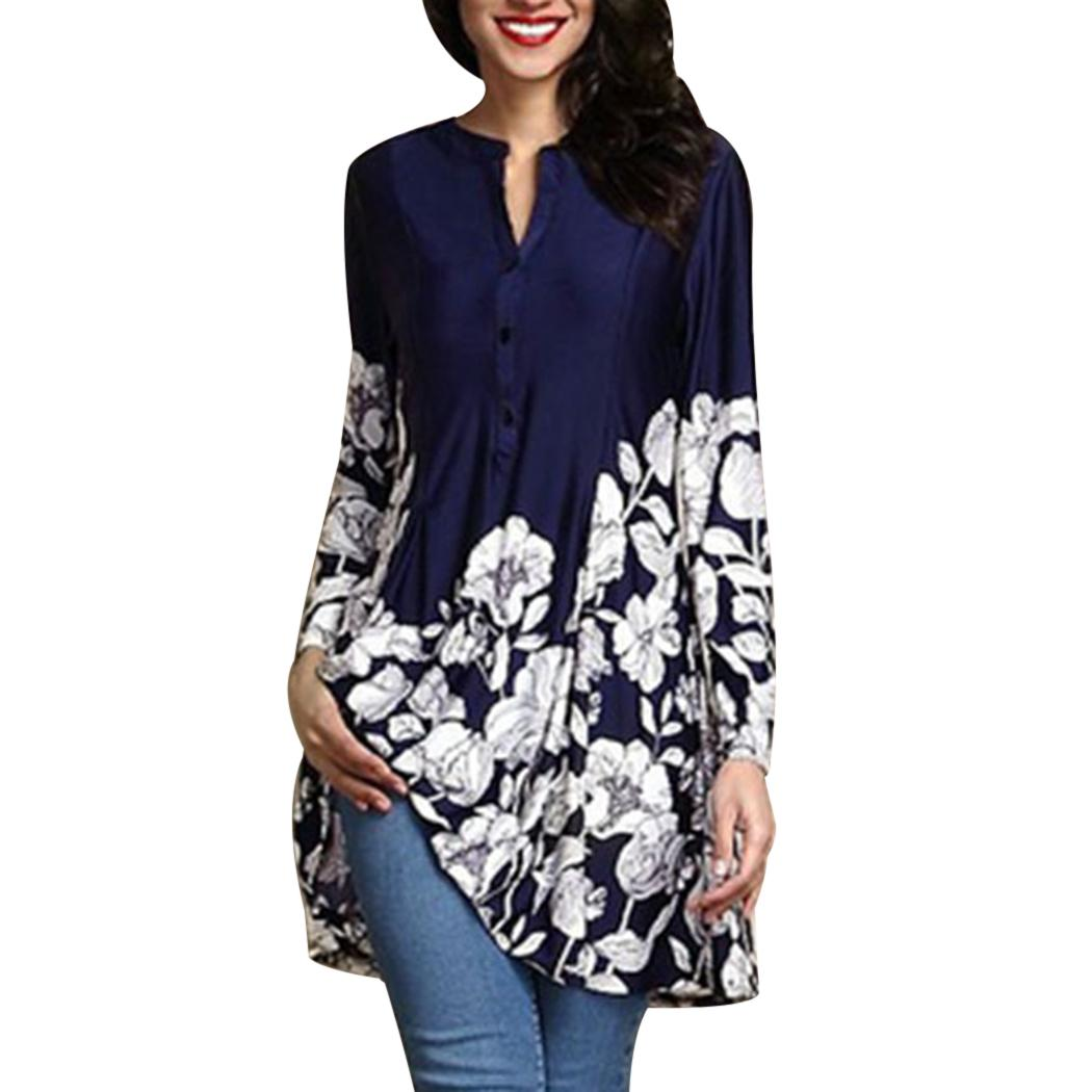 29c5c6ead1924 ... Tunic Tops For Leggings Long Sleeve Vneck Shirt Regular and Plus Size  Made in Source · 2019 Plus Size Women Printed Blouses Korean Fashion Button  V Neck