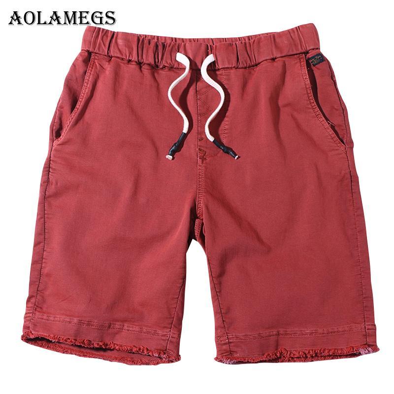 68cad99ef2 Compre Aolamegs Shorts Hombres Patchwork Bolsillo Bermuda Beach Hasta La Rodilla  Shorts Casuales Algodón De Alta Calidad Slim Fit Hombre Mens 2018 A  38.41  ...