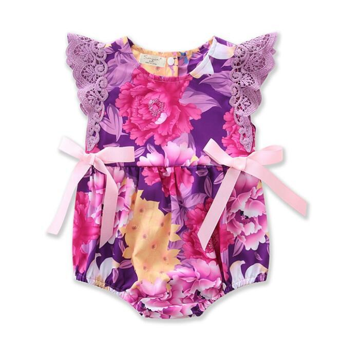 4cc26a5efc8b 2019 Baby Romper Newborn Girls Lace Sleeve Romper Girls Bowknot Floral  Jumpsuit Baby Summer Flower Clothing 8 P From Choicegoods521