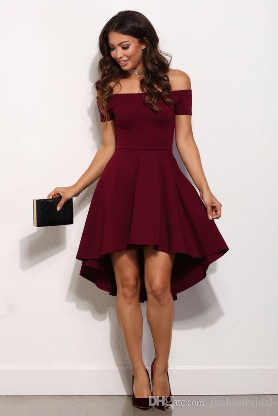7d0cf7f94a5 Short Sleeves Burgundy Short Homecoming Dress Off The Shoulder Knee Length  Semi Formal Party Dress Plus Size Homecoming Dresses Red Formal Dresses From  ...