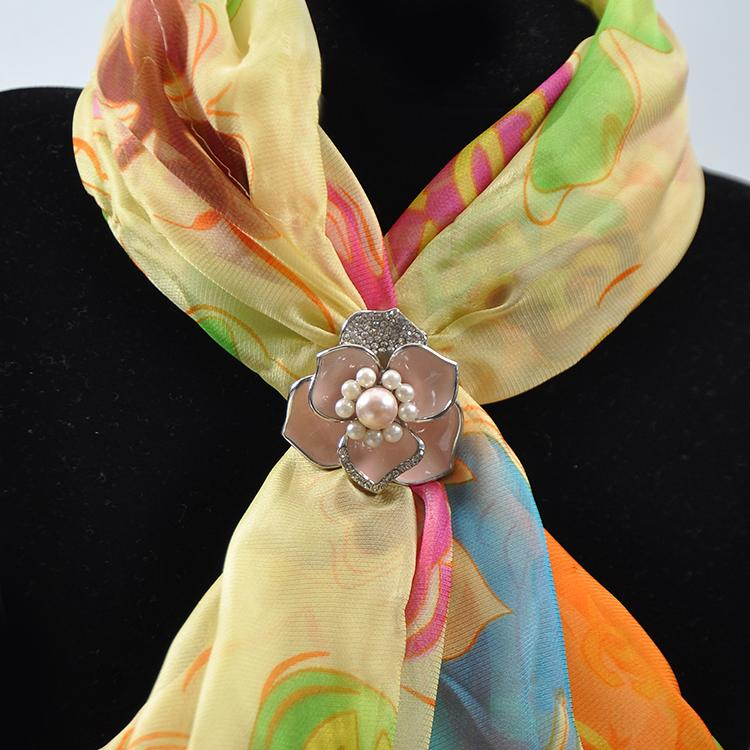 Tall, three ring scarves, big pearl inlaid drill, pink drop oil scarf manufacturer wholesale