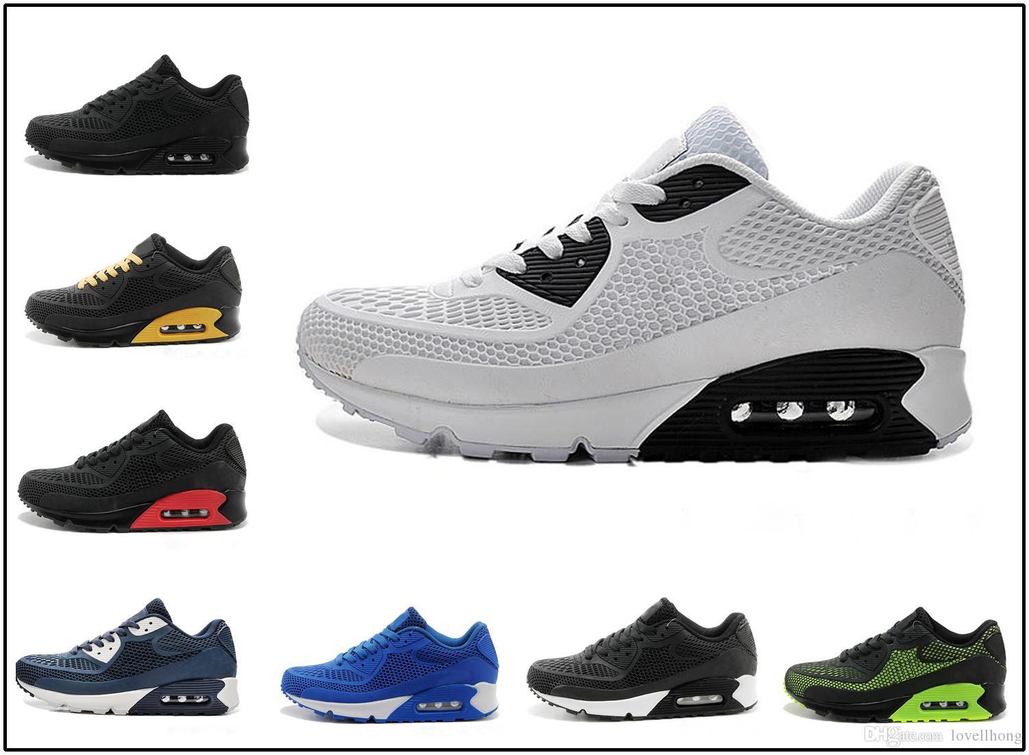 nike air max 90 kpu airmax Nouveau Chaussures de course Air Cushion 90 KPU Hommes Femmes Baskets Haute Qualité Pas Cher Tout Noir Chaussures de Sport