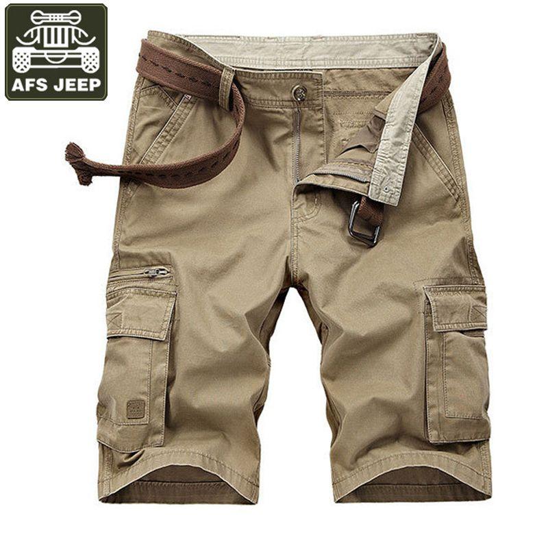 d7f8e191bd2 2019 AFS JEEP Cargo Shorts Summer Multi Pockets Casual Mens Shorts Soild  Cotton Bermuda Moletom Masculino Plus Size 42 Shorts No Belt From  Diegonovo
